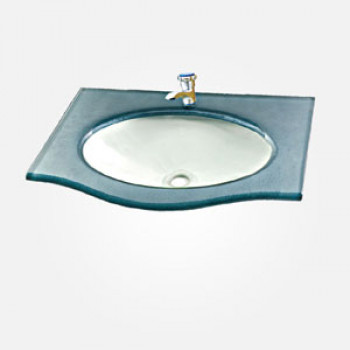 15'' Painted Glass Rectangular Wash Basin