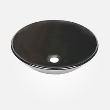 16'' Black Glass Round Wash Basin