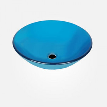16'' Blue Glass Round Wash Basin