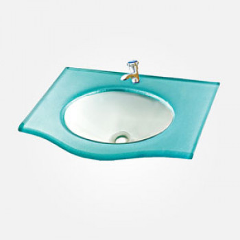 18'' Painted Glass Rectangular Wash Basin