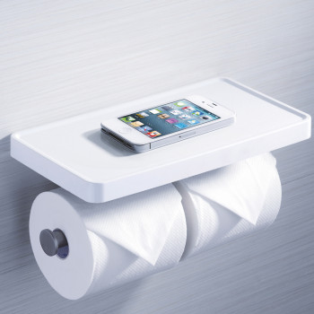 Perk Double Roll Holder with Shelf