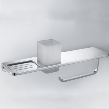 Perk 4 Way Shelf + Soap Dish + Tumbler Holder + Towel Ring
